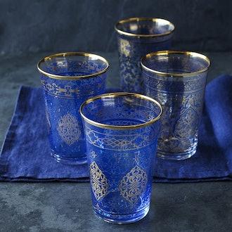 Blue Mosaic Tumblers, Set of 4