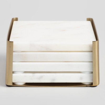 White Marble Square Coasters In Gold Holder Set Of 4