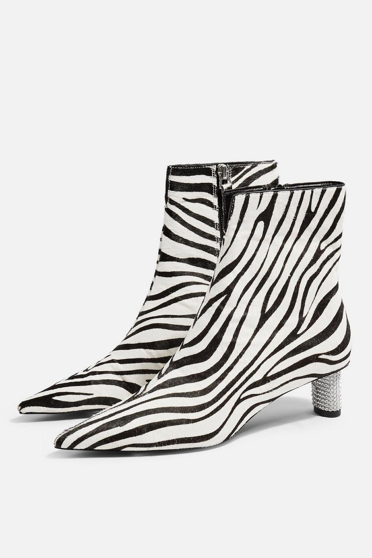 MANE Zebra Jewel Ankle Boots