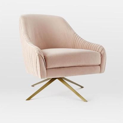 Roar + Rabbit Swivel Chair in Luster Velvet, Dusty Blush