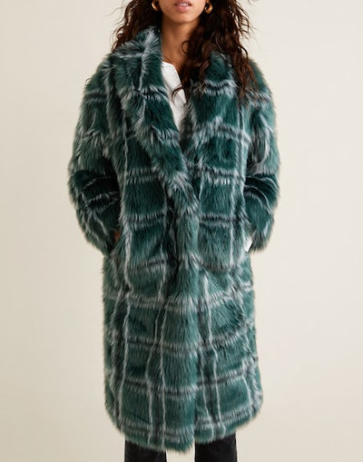 Checked Faux Fur Coat