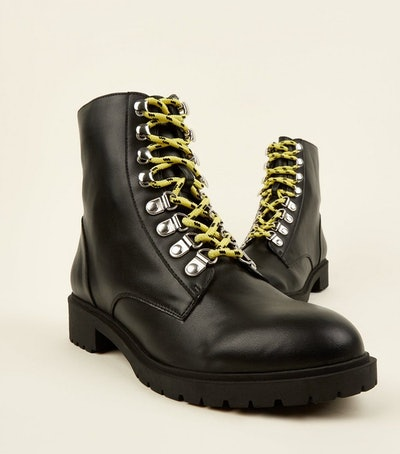 Black Leather Look Contrast Lace Hiker Boots