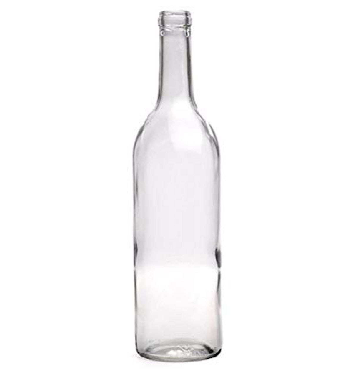 750 ml Clear Bordeaux Wine Bottles, Cork Finish (Pack of 12)