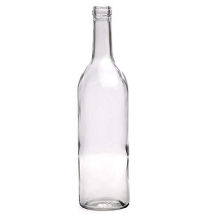 750 ml Clear Bordeaux Wine Bottles, Cork Finish (Pack of 12)
