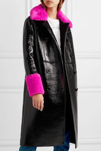 Stand Bernadette Faux Fur-Trimmed Crinkled Vinyl Coat