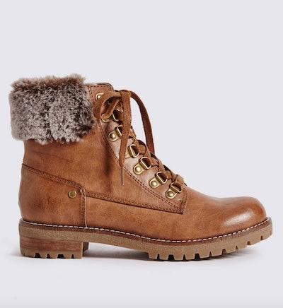 Block Heel Faux Fur Ankle Boots
