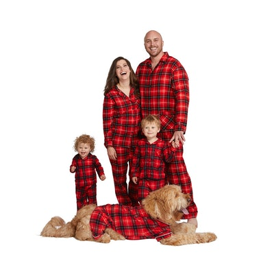 Holiday Red Plaid Notch Collar Family Pajamas Collection