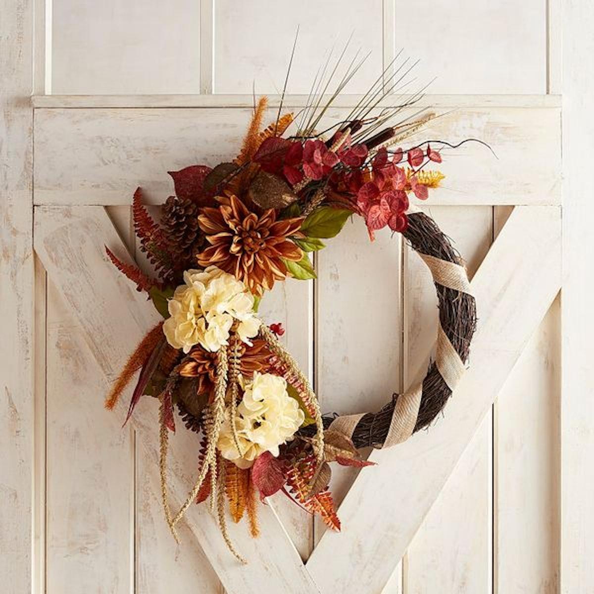 """Asymmetric Faux Dahlia & Cattail 24"""" Wreath"""