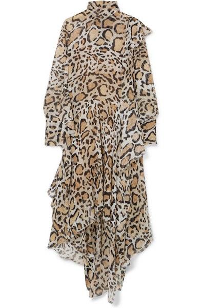 Leopard-Print Chiffon Midi Dress