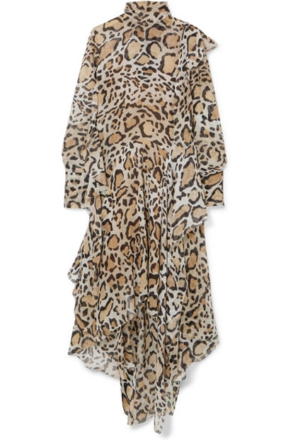 Leopard-Print Chiffon Midi Dress