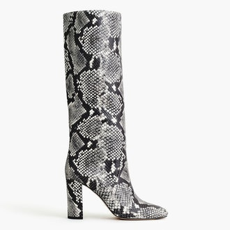 Tall High-Heel Boots In Faux Snakeskin