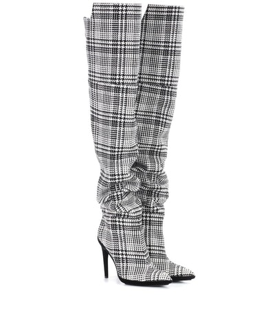Plaid Over-The-Knee Boots