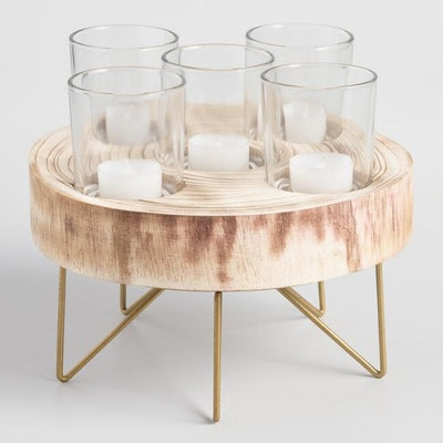Wood And Metal Hairpin Votive Candleholder