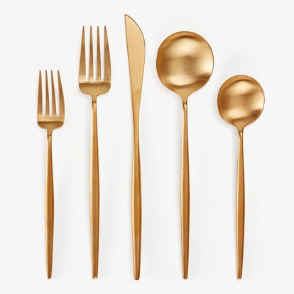 Cutipol Moon 5-Piece Flatware Set Brushed Gold