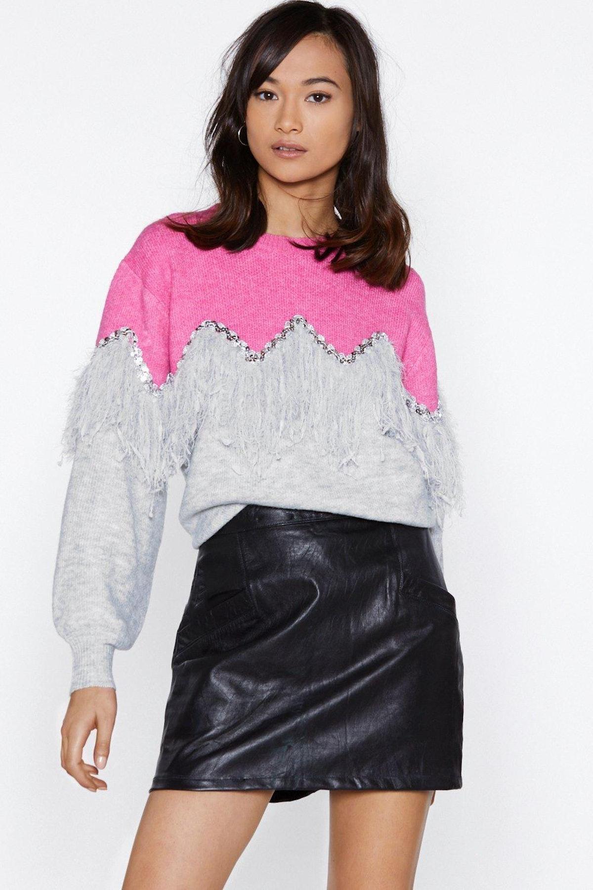 Sway of Life Fringe Sweater