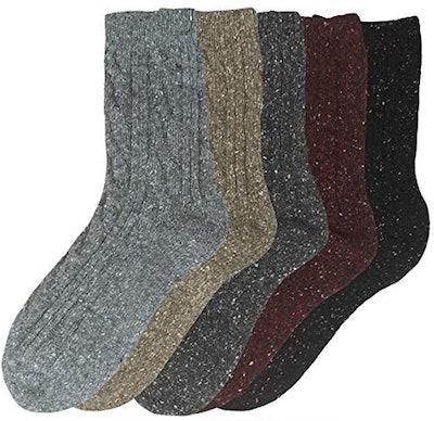 Eedor Women's Winter Wool Crew Socks (5-Pack)