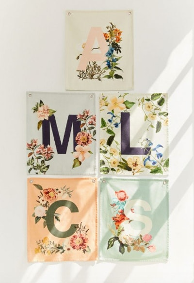 Monogram Floral Flag Tapestry