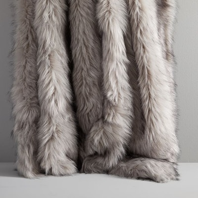 Faux Fur Throws in Brushed Tips - Platinum
