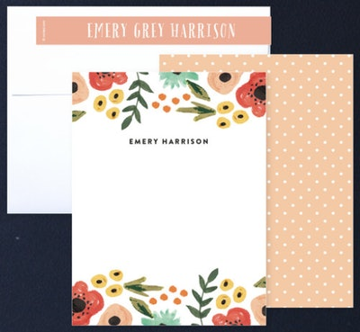 August and Oak Watercolor Flowers Stationery