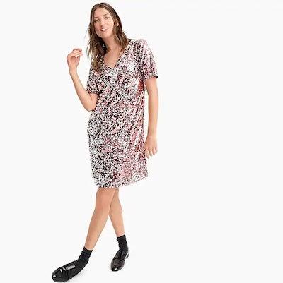 Sequin V-Neck T-Shirt Dress