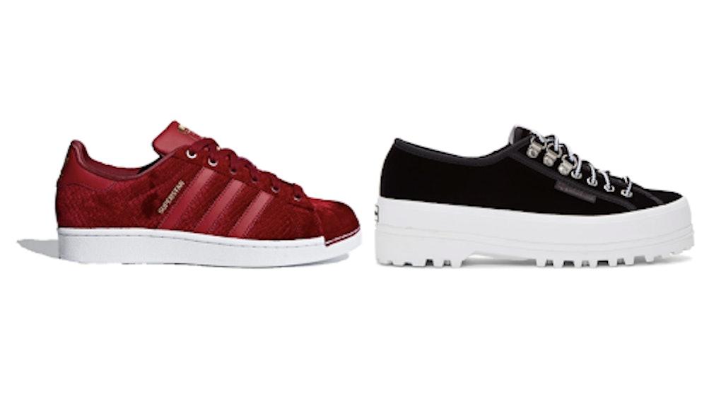 40e09e950e2133 The 2018 Velvet Sneaker Trend For Winter Will Make Your Feet Feel Festive AF
