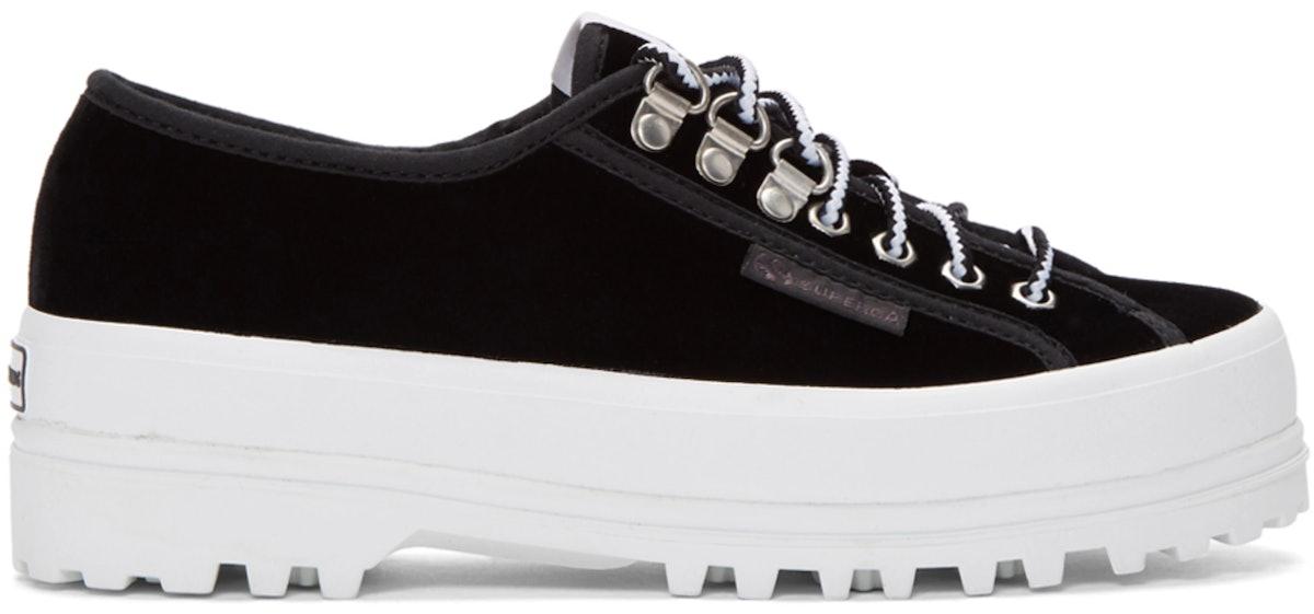 Alexa Chung Black Superga Edition Velvet 2748 Sneakers