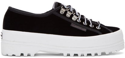 Alexa Chung Black Superga Edition Velvet 2748 Sneakers