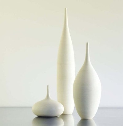 Sara Paloma 3 Large White Modern Ceramic Bottle Vases in Modern White Matte