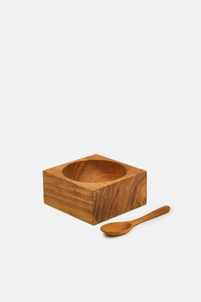 Teak Square Cellar with Spoon