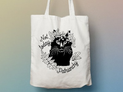 Feminist Tote Bag: Not Today Patriarchy, Cat Lady Tote
