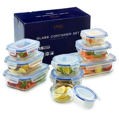 1790 18-Piece Glass Food Storage Container Set