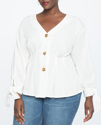 Pleated Button Front Top