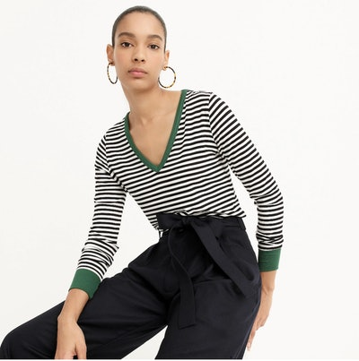 Jersey Long-Sleeve V-Neck Tee in Stripes