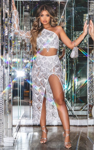 Silver Tassle Sequin Extreme Split Midaxi Skirt