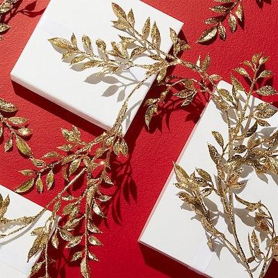 Gold Glitter Leaf Garland