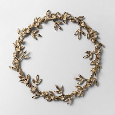 Wreath Gold Metal Leaf and Flower