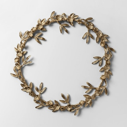 Wreath Gold Metal Leaf and Flower