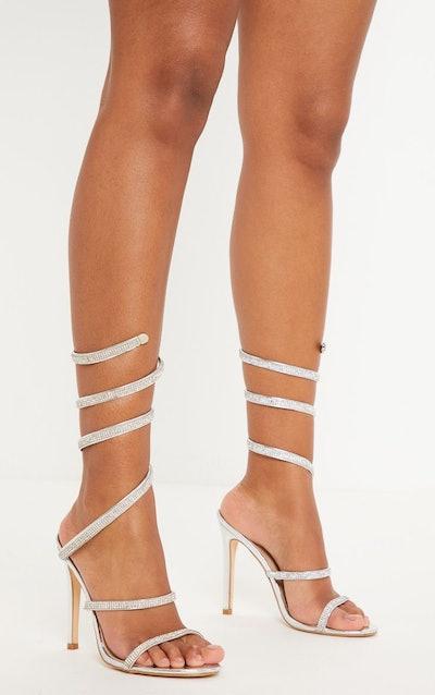 Silver Diamante Wrap Strap High Heeled Sandal