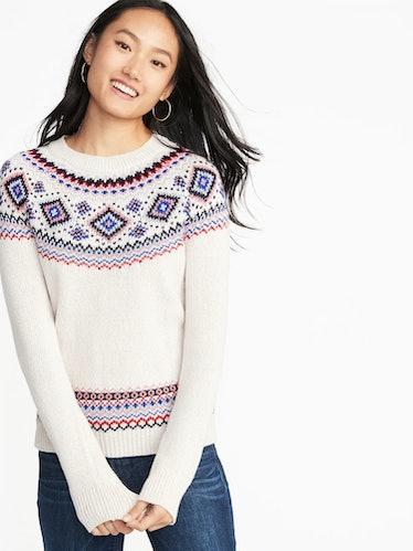 Metallic Fair Isle Sweater for Women