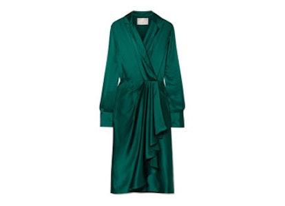 Wrap-Effect Silk Charmeuse Dress