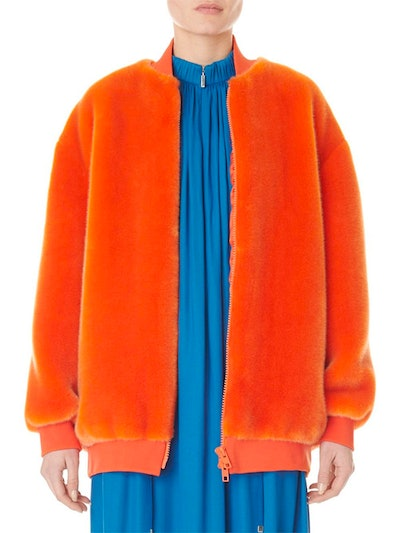 Tibi Zip-Up Faux-Fur Track Jacket