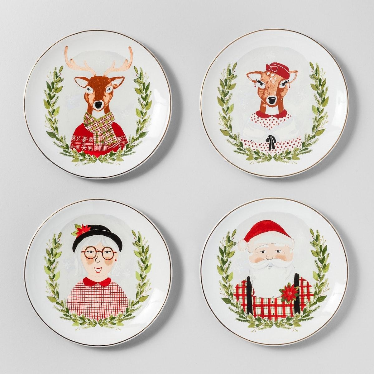 Stoneware Holiday Icons Appetizer Plates White