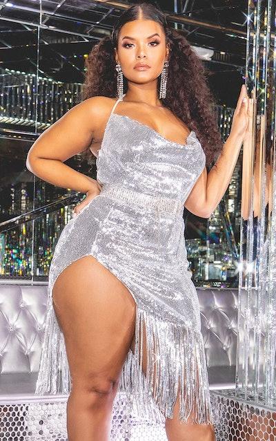 Plus Silver Sequin Cowl Neck Tassel Hem Midi Dress
