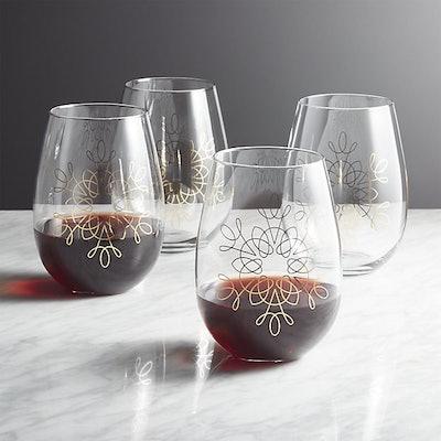 Filigree Gold Stemless Wine Glasses, Set of 4