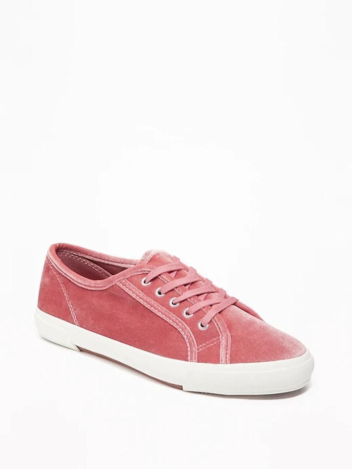 Velvet Lace-Up Sneakers for Women