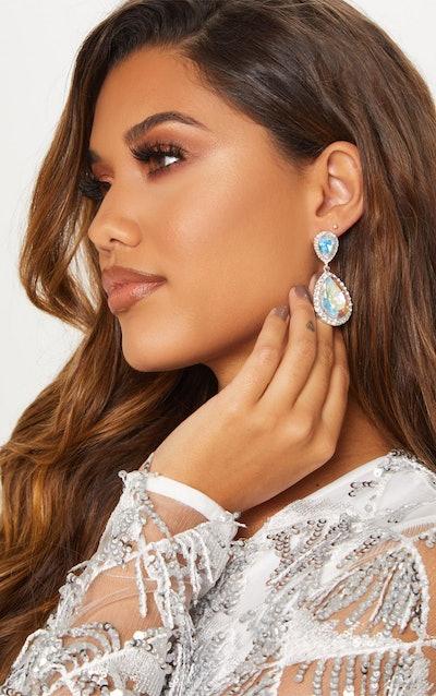 Silver Iridescent Teardrop Jewel With Crystal Border Earrings