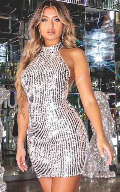Silver Sequin High Neck Bodycon Dress