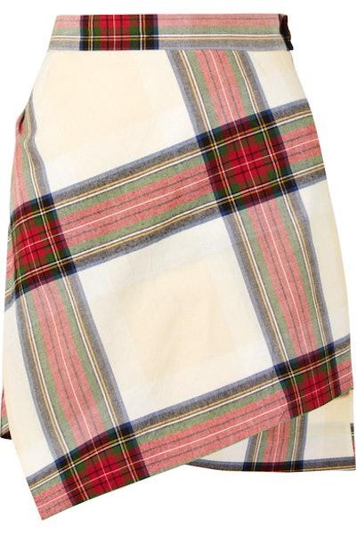Asymmetric Tartan Cotton Mini Skirt