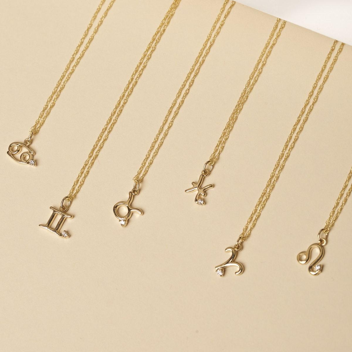Zodiac Charm Necklace with Diamond