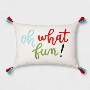 'Oh What Fun' Lumbar Throw Pillow With Tassels Cream